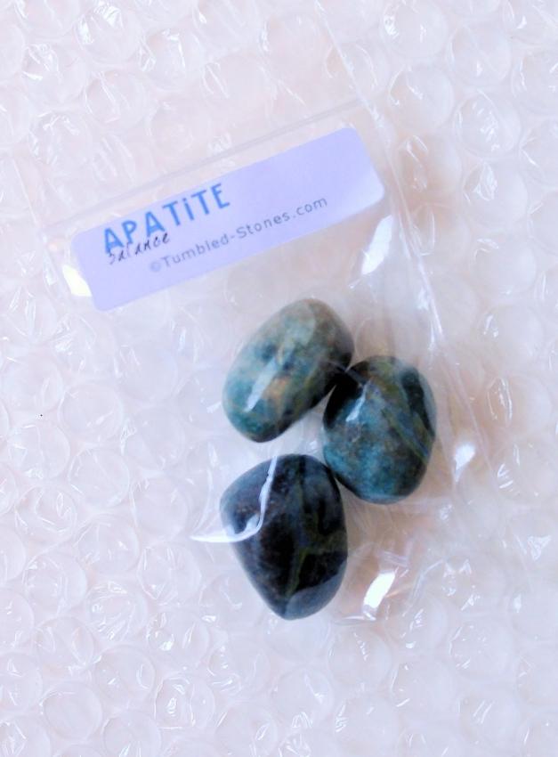 apatite tumbled stones in bag