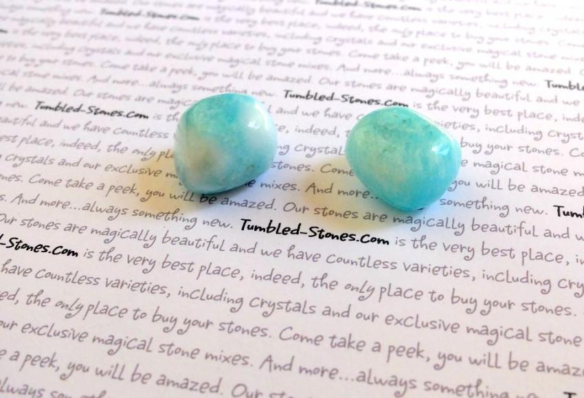 aragonite blue tumbled stones