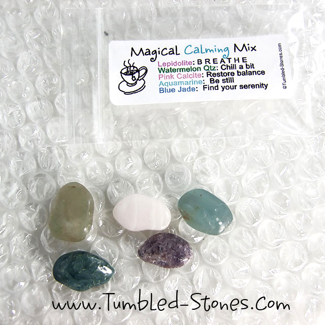 Magical Calming Mix contains one or more of the following stones: Lepidolite, Watermelon Quartz, Pink Calcite, Aquamarine and Blue Jade.