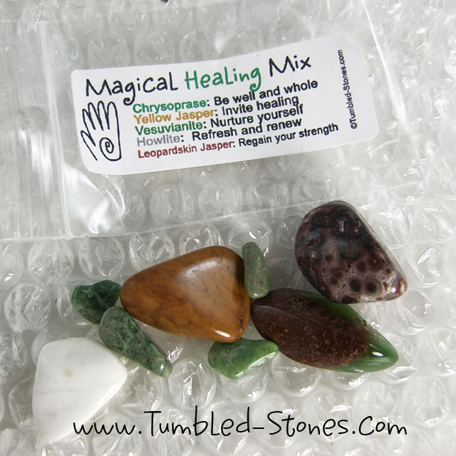 Magical Healing Mix contains one or more of the following stones: Chrysoprase, Yellow Jasper, Vesuvianite, Howlite and Leopardskin Jasper.