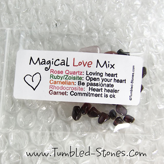 Magical Love Mix contains one or more of the following stones: Rose Quartz, Ruby in Zoisite, Carnelian, Rhodocrosite and Garnet.
