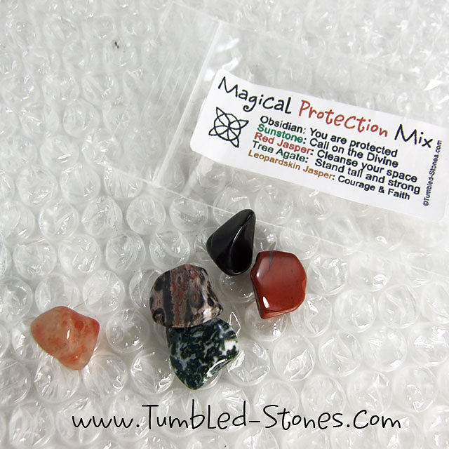 Magical Protection Mix contains one or more of the following stones: Obsidian, Sunstone, Red Jasper, Tree Agate and Leopardskin Jasper.