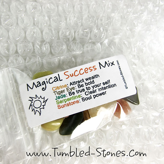 Magical Success Mix contains one or more of the following stones: Citrine, Tiger Eye, Jade, Serpentine and Sunstone.