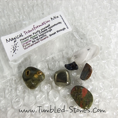 Magical Transformation Mix contains one or more of the following stones: Pietersite, Ocean Jasper, Unakite, Pyrite and Moss Agate.
