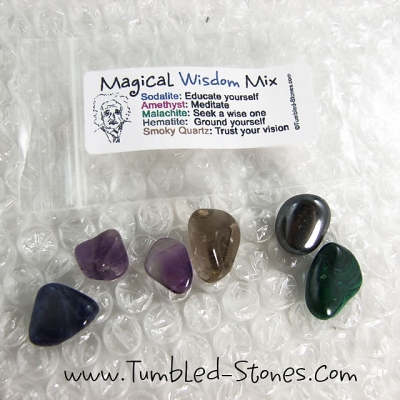 Magical Wisdom Mix contains one or more of the following stones: Sodalite, Amethyst, Malachite, Hematite and Smoky Quartz.