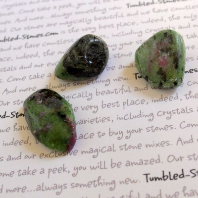 Zoisite with ruby tumbled stones
